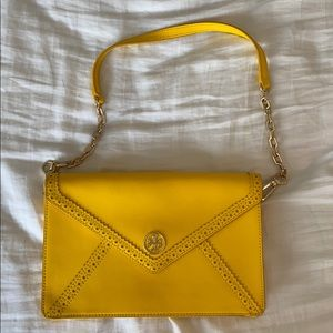 Tory Burch Envelope clutch with chain, yellow